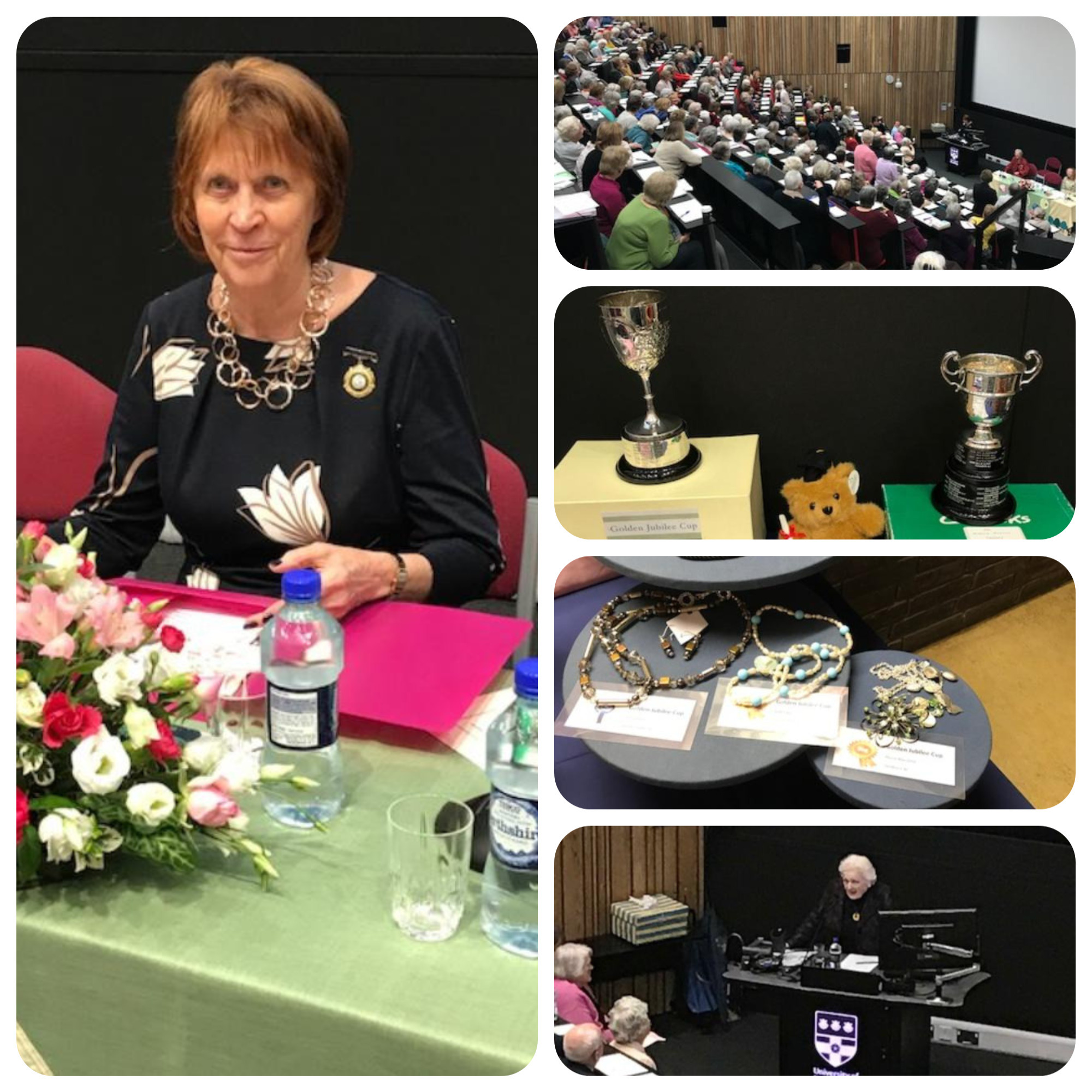 a collage of photos showing the audience and chairman of berkshire
